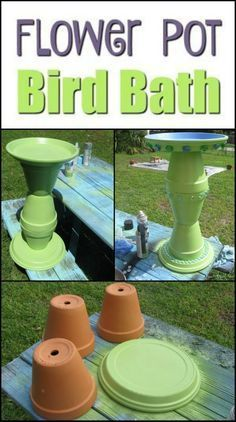 Best Photo clay pottery pots Tips Turn clay flower pots into a brilliant bird bath – Bird Bath Garden, Diy Bird Bath, Diy Garden, Garden Crafts, Garden Projects, Garden Art, Garden Ideas, Garden Planters, Clay Flower Pots