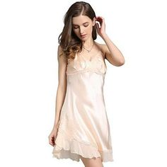 Dainty Silk Nightgown With Translucent Lace