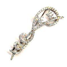 "White CZs Sterling Silver Flowers Swirl Twist Pin Brooch Rich Chic Jewelry. $74.95. 2.25"" Length, .75"" Width. White CZs. Sterling Silver. Free Jewelry Pouch Included. Save 75%!"
