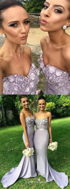 2016 long strapless grey mermaid bridesmaid dress, wedding party dress, prom dress 2016