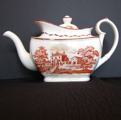 antique teapots | English Teapot, Orange Bat Print, Antique Staffordshire c1820 from ...