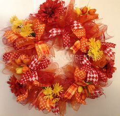 Spring Summer Red Orange Yellow Flowers Ribbon Deco Mesh Wreath Home Decor USA | eBay