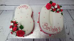 Lovely 80th birthday cake with beautiful sugar flowers