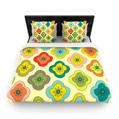 """Forest Bloom"" Woven Comforter Duvet Cover 