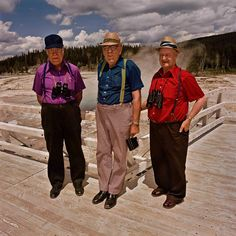 Three Men at Upper Geyser Basin, Yellowstone National Park, WY 1980