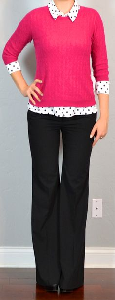 Outfit Posts: outfit post: pink sweater, polka-dot blouse, black pants