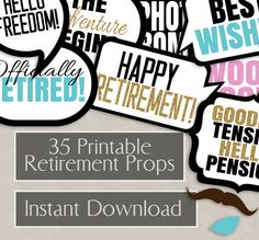 35 Retirement photo booth prop printables, Retirement party props, instant download photobooth speech bubbles, retiring party props ideas