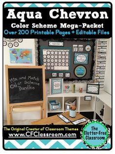 Classroom Decor AQUA CHEVRON - EDITABLE Clutter-Free Class