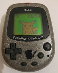 Pokémon Pikachu - Wikipedia, the free encyclopedia Gold Pokemon, Pokemon Toy, Pikachu, Handheld Video Games, Virtual Pet, Small Cards, Mini Games, Have Some Fun, Nintendo Consoles