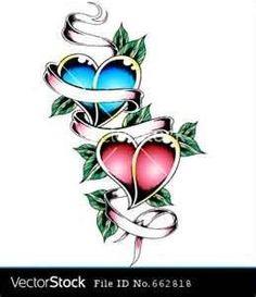 Double Heart Tattoo Design