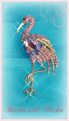 Queen Flamingo Swarovski Pink crystal Glamping Brooch Pin
