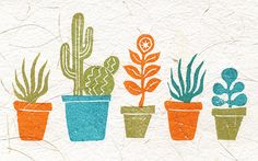 stamped pots by Geninne. nice...