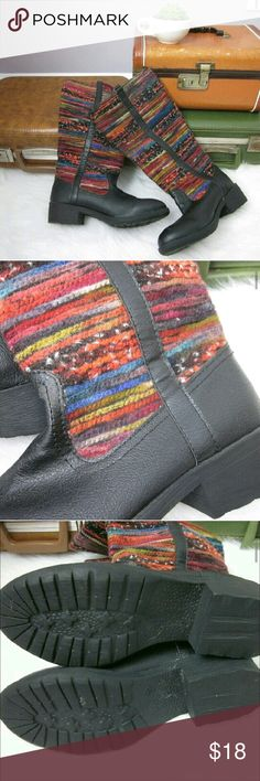 Colorful Textile Wanted Riding Boots 6.5 Excellent condition! No flaws! Fun colorful yarn-like uppers! Fun boot to liven up your fall and winter outfits. Slip on.  Man-made materials.   Bundle for best deals! Hundreds of items available for discounted bundles! Bundle offers welcome.   Follow on IG: @the.junk.drawer Wanted Shoes Winter & Rain Boots