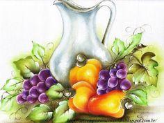 pintura em tecido frutas caju e uvas