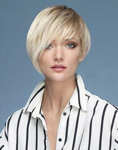 Blonde short asymmetrical hairstyles with bangs for fine and thin hair
