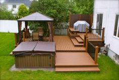 What do you look for in a backyard patio deck design? Is the deck going to be constructed of wood? Hot Tub Deck, Hot Tub Backyard, Backyard Patio Designs, Backyard Pergola, Pergola Kits, Pergola Ideas, Porch Ideas, Patio Ideas, Terrace Ideas
