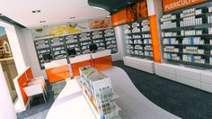 Farmácia Cardoso (2009) Pharmacy Store, Pharmacy Design, Shop Counter, Hotel Reception, Retail Concepts, Point Of Sale, Lobbies, Merchandising Displays, Store Design