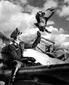 Luftwaffe Pilot on his Messerschmitt with an Adler