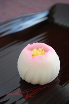 Japanese sweets, Nerikiri - made mainly of white beans, mochi flour, and sugar. Very subtle and delicate presentation.