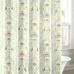 """A chic pop for your guest bathroom or master suite, this cotton shower curtain showcases a multicolor damask motif.   Product: Shower curtainConstruction Material: 100% CottonColor: GreenFeatures: 12 Buttonhole openingsDimensions: 72"""" H x 72"""" WCleaning and Care: Machine washable"""