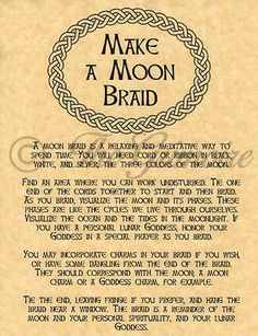 How to Moon Braid, Book of Shadows Spell Page, Wiccan, Witchcraft, Charmed, BOS