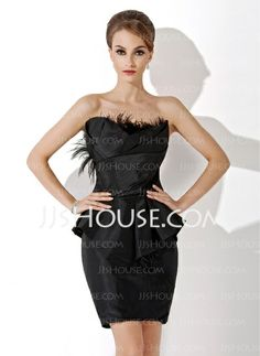 Cocktail Dresses - $128.99 - Sheath Scalloped Neck Knee-Length Taffeta Cocktail Dress With Ruffle Feather (016021161) http://jjshouse.com/Sheath-Scalloped-Neck-Knee-Length-Taffeta-Cocktail-Dress-With-Ruffle-Feather-016021161-g21161