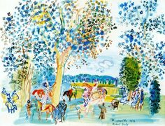 'Paddock en Deauville' by Raoul Dufy France) Famous Artists, Great Artists, Watercolor And Ink, Watercolor Paintings, Art Fauvisme, Raoul Dufy, Art Corner, Design Poster, Scenic Design