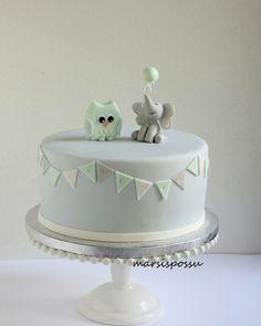 Pastellisävyinen kakku nimiäisiin 1st Birthdays, First Birthday Parties, Birthday Cake, Baby Shower Cakes, Baby Boy Shower, Jonah 1, 1st Year Cake, Sweets Cake, Cute Cakes