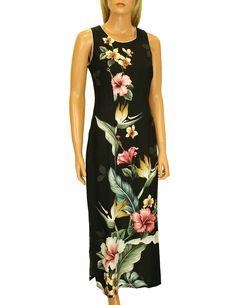 Long Maxi Hawaiian Dress Birds of Paradise Hibiscus Design  #RC-57804-BPH