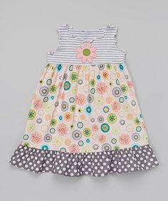 Look at this #zulilyfind! Pink & Gray Ruffle Babydoll Dress - Toddler & Girls by Tutu & Lilli #zulilyfinds