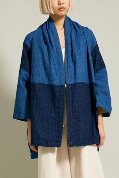 Atelier Delphine Haori Coat in Patchworked Sewing Clothes, Diy Clothes, Clothes For Women, Boro, Minimal Dress, Modern Kimono, Denim Top, Kimono Fashion, Clothing Patterns