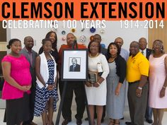 Left to right, front row: Janae Childs, grandniece; Amanda Clinkscales, granddaughter; Veronica Alston Clinkscales, wife; Candace Jones, niece; Dr. Curtis White, colleague and Harriett Clinkscales, sister-in-law. Left to right, back row: William Alston, son; Kia Alston, daughter-in-law; William Clinkscales, Jr., son; William Hawkins, brother- in-law; Al Norris and Newton Rucker, both friends. Photo courtesy of: Joshua S. Kelly #ClemsonExt100