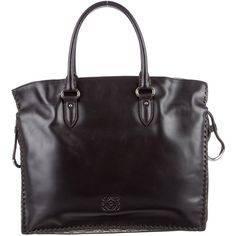 Pre-owned Loewe Snakeskin-Trimmed Flamenco Tote (89.905 RUB) ❤ liked on Polyvore featuring bags, handbags, tote bags, black, zipper tote, zippered tote bag, zip tote, leather tote bags and zip tote bag