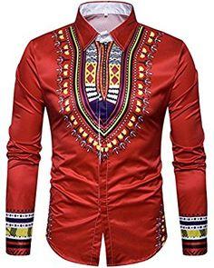HEFASDM Mens Top Blouse Print African V Neck Regular Fit Dashiki Tunic Shirt