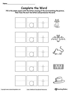 Complete the Word: AT Word Family: Practice recognizing the beginning sound of the words, tracing and writing with this picture and word printable activity.
