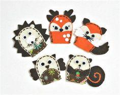 Woodland animals - set of 5 wool felt finger puppets