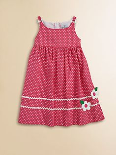 Florence Eiseman - Toddler's & Little Girl's Polka Dot Dress - Jewelry Design Jewelry design 2020 Jewelry Ideas 2020 Toddler Girl Dresses, Toddler Outfits, Kids Outfits, Kids Dress Patterns, Baby Dress Design, Diy Vetement, Kids Frocks, Applique Dress, Little Girl Dresses