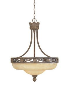 Designers Fountain Lighting 97831 VBG Carlisle Collection Three Light Hanging Pendant Chandelier in Venetian Bronze Finish