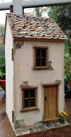 When I have fun building a certain house I tend to want to make another. 'Cobweb Cottage' was such a pleasure to make I just had to build. Clay Houses, Ceramic Houses, Paper Houses, Miniature Houses, Cardboard Houses, Miniature Dolls, Dolls House Shop, Barbie Doll House, Modern Dollhouse