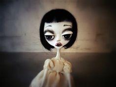 Blue girl-Dark doll-Art doll-OOAK art doll by MademoisellesBleues