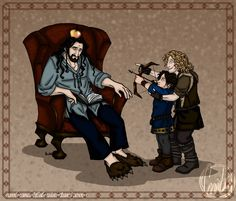 The Hobbit: Little Angels II by aminawolf.deviantart.com on @deviantART Oh no! (I love Thorin's slippers :P)
