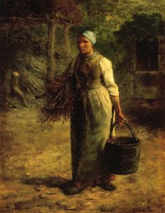 Woman Carrying Firewood and a Pail, 1858, Jean-Francois Millet    Size: 30x39.5 cm  Medium: oil, panel