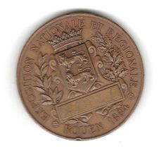 1884 Rouen Exposition Nationale et Regionale Bronze Medal  Front and back pictured. There is no name etched in the blank. Signed AD NOEL A ROUEN
