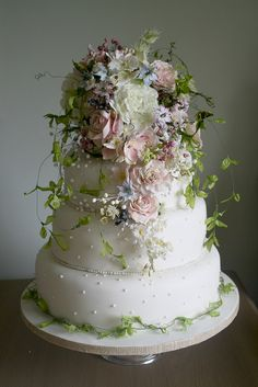Amy Swann Wedding cake titled 'Cariad' - Welsh cake designer, wildflowers, meadow, natural rustic inspiration