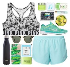 """""""workout ready"""" by okieprep ❤ liked on Polyvore featuring Victoria's Secret, NIKE, Ray-Ban, ELSE, Casetify, Rodial, Happy Plugs, S'well, Sara Happ and Benefit"""