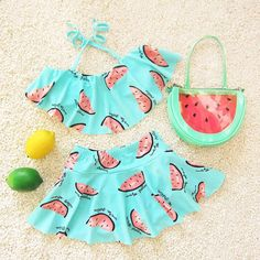 Cute Melon Spring Summer Skirt Girls Swimwear Two Pieces Kids Clothes Bathing Suits Children Swimsuits AE