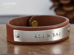 NEW Leather Color Mens Personalized Jewelry by MavenMetalsInc