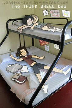 College AU destiel.>>> AWW this is so adorable because like the top is SUPPOSED to be the third wheel bed but Dean and Cas are up there and just... It's too cute!