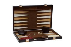 """Ships FREE, wait no longer while stock is available! Complete and beautiful, 18"""" Brown leatherette backgammon set featuring a tan color pen strip. Included are 1.25"""" brown and ivory game pieces. With two matching dice cups, 2 sets of color dice and a doubling dice. Dimensions: 18.125"""" x 11.5"""" x 2"""". #freeshipping #backgammonboardsets"""