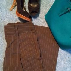 """Host Pick! NWOT body by Victoria Pants Beat the Monday blues with these cute, Never worn Victoria's Secret pant - Body by Victoria, Eva Fit size 0 tall. Beautiful brown with tan and teal pinstripes. Very comfortable, just too wide leg for me. For reference, I'm 5'5 and wearing 3"""" heels. Halloween Prep host pick 10/17/14 Victoria's Secret Pants"""